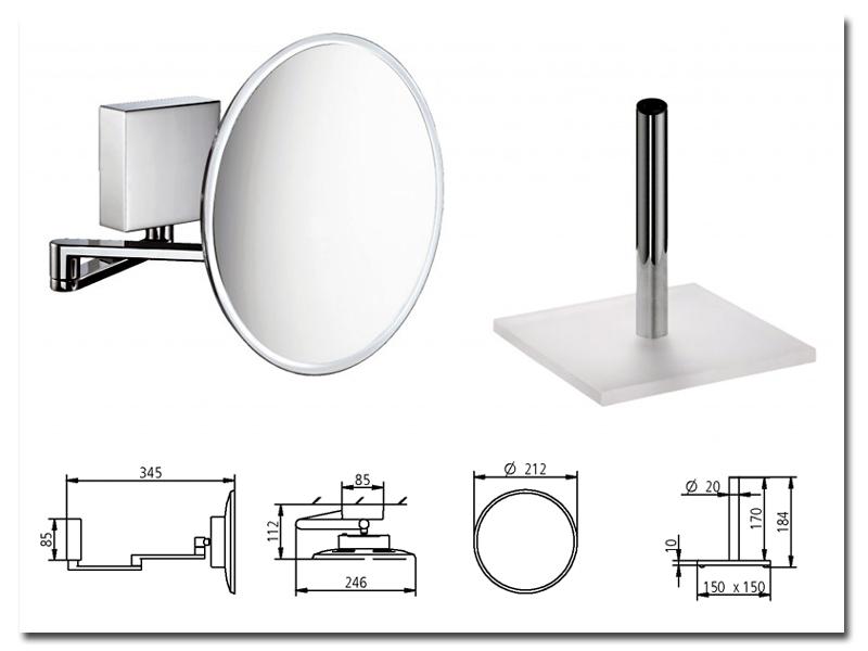 Kosmetikspiegel mit Akku zur Verwendung als Wandspiegel oder Standspiegel sowie als Handspiegel by Bavaria Bäder-Technik GdbR
