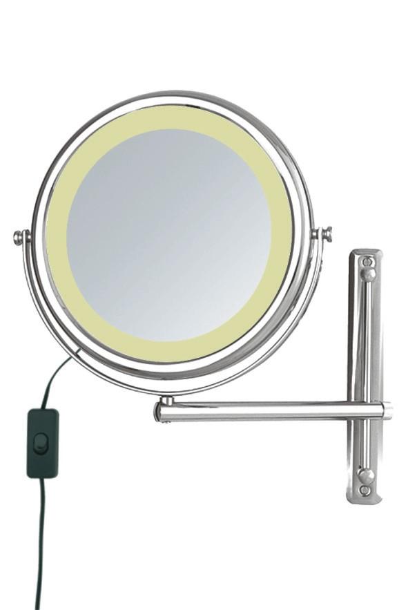 Kosmetikspiegel und Rasierspiegel höhenverstellbar an der Wandstange und beleuchtet by Bavaria Bäder-Technik GdbR