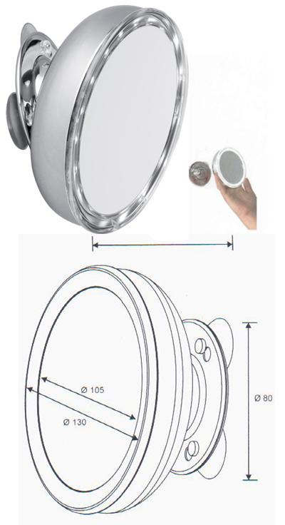 Kosmetikspiegel Saugnapf mit LED Beleuchtung mit Batterie by Bavaria Bäder-Technik GdbR