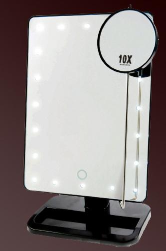 Kosmetikspiegel beleuchtet mit Vergrösserungsspiegel 10-fach und batteriebetrieben by Bavaria Bäder-Technik GdbR